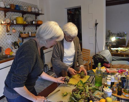 alcamo-amy & mary preparing artichokes copy