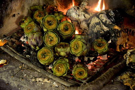artichokes cooking in the fire