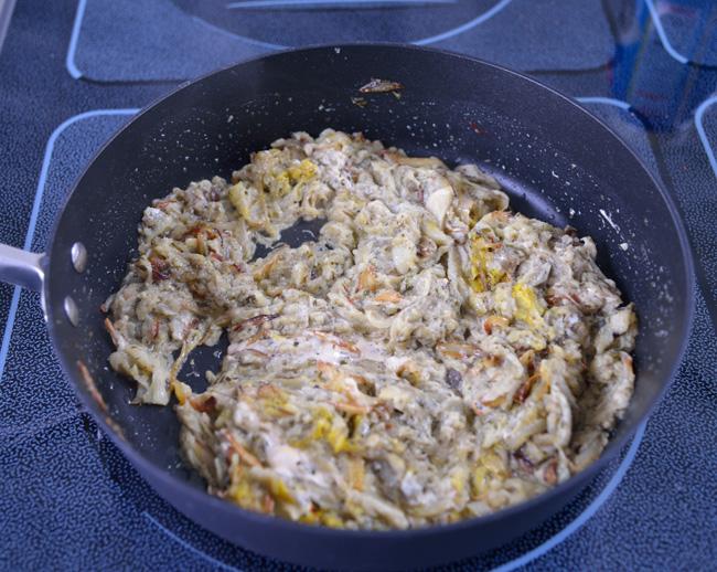 kashk-e bademjan-aubergines in pan